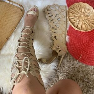 Bebe Gladiator Knee High Lace Up Snakeskin Heels